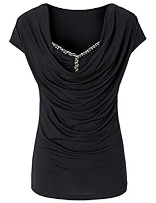 RAYWIND Women Fashion Heaps Collar Bead T-shirt Casual Summer Top Blouse