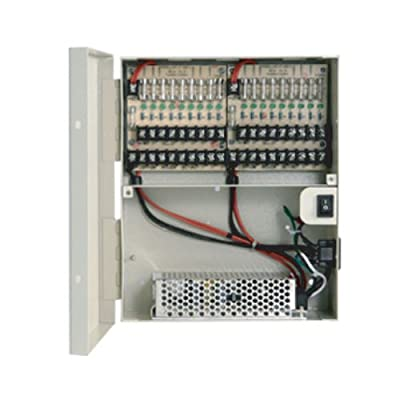 R-Tech Power Distribution Box with 18-Port Fused Output, 12V DC, 18 Amp, UL list for Surveillance Security Camera CCTV