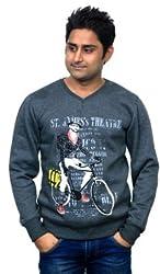 Unicott Full sleeves Grey printed Men's Sweatshirt (Grey)