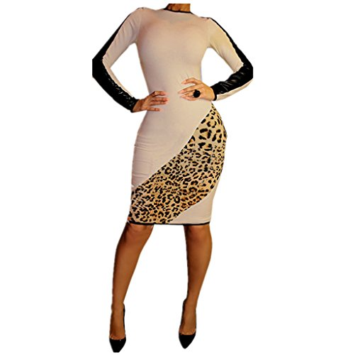 Women's Leopard Faux leather Stitching Dress
