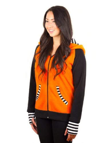 Crazyheads Orange Fox Hoodie with Striped Cuff, Large