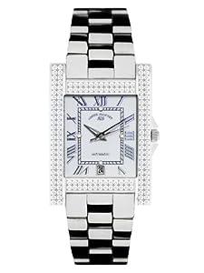 André Belfort 410123 - Reloj analógico de mujer automático con correa de cerámica plateada - sumergible a 50 metros