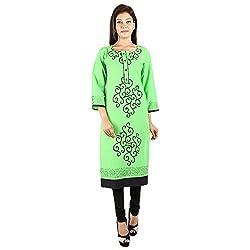 Kaash Women's Straight Kurta_VRIDAGRE03_4XL_Green