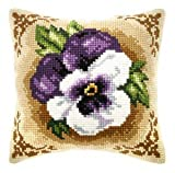 Rich Purple Pansy Cushion Front Chunky Cross Stitch Kit