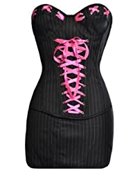 Black Pinstripe Corset and Skirt with Pink Ribbon Detailing