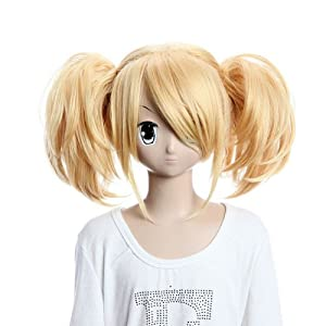 Vocaloid Golden Wigs with Two Short Wavy Ponytails Party Wigs Lovely Fabulous wigs