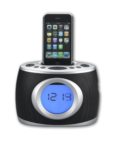 Curtis SIP378-Silver Sylvania Dock and Clock Radio PLL Dual Alarm for iPod and iPhone