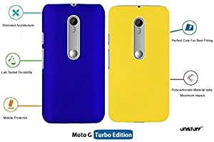 For Moto G Turbo Edition[COMBO OFFER]: Unistuff™ Matte Finish Hard Case Back Cover for Moto G Turbo Edition [SLIM FIT][FREE SHIPPING] (Dark Blue, Yellow)