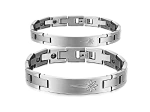 Shopping for Athena Jewelry Titanium Series His or Hers Matching Set Couple Titanium Magnetic Bracelet Anti-fatigue Anti-radiation in a Gift Box (Hers) for  Valentine Gifts Idea Shopping Online