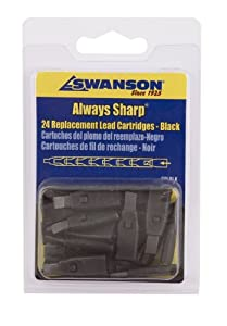 Swanson CPLBLK Black Replacement Lead Cartridges for AlwaysSharp Carpenter Pencil - 24 count (Pack of 10)
