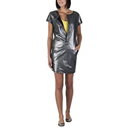 Go International® Foil Print Shift Dress with Front Zip - Deep Navy : Target from target.com