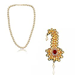 RATNAKAR Kalgi With White Pearl Mala For Women