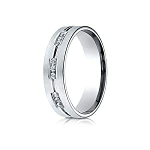 IceCarats Designer Jewelry 18K White Gold 6Mm Comfort-Fit Etched Channel Set 18-Stone Diamond Eternity Ring (.36Ct) Size 15