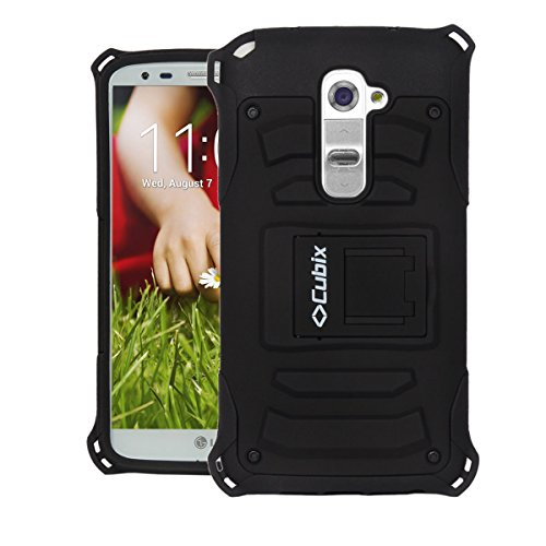 LG G2 Case Cover : [Cubix] Armor Jacket Series Dual Layer Hybrid Shock Proof Kickstand Case Cover for LG G2 (Black)
