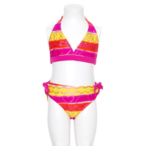 Girls Fuchsia Yellow Heart Shimmer Two Piece Swimsuit Size 7-16