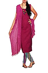 Unnatisilks Women Unstitched purple-multicolor pure Andhra khadi cotton salwar kameez dress material