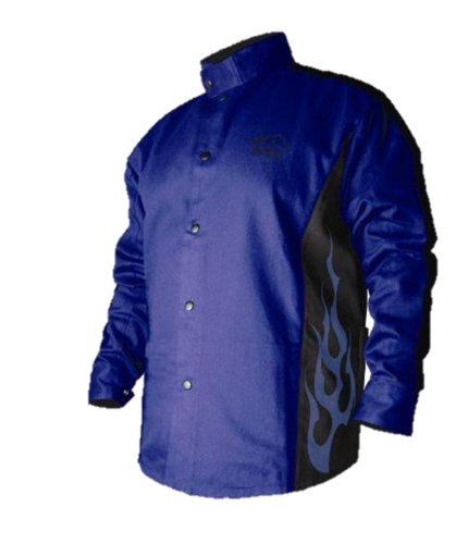 BSX-Flame-Resistant-Welding-Jacket-Blue-with-Blue-Flames-Size-2X-Large