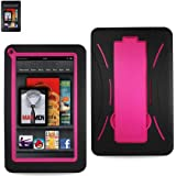 HYBRID PROTECTIVE CASE FOR KINDLE FIRE 2PCS HARD & SOFT COMBINATION HYBRID CASE. (BLACK/PINK)
