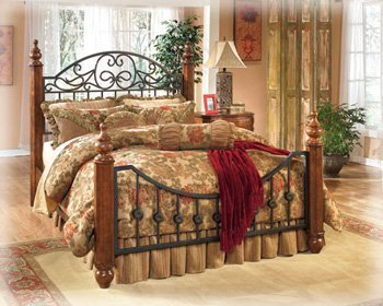 traditional-metal-wood-poster-queen-bed-by-ashley