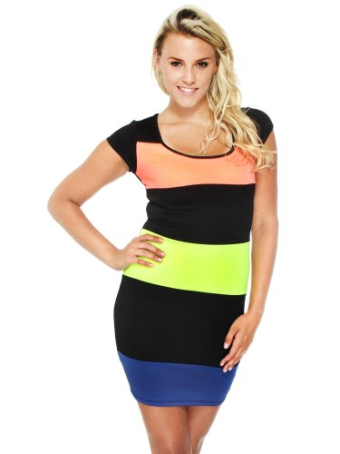Simplicity Colorblock Club Dress Black, Neon Coral, Neon Yellow, Royal, S front-819799