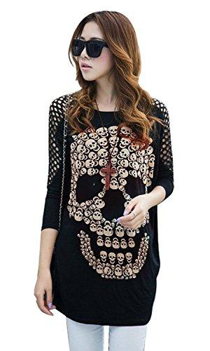 Minetom Maglietta Manica Lunga Pullover Shirt Blouse Cranio Stampa Top - Donna ( IT 42 )