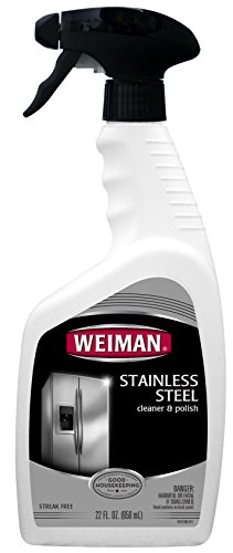 Weiman Stainless Steel Cleaner & Polish - Streak Free Shine for Refrigerators, Dishwasher, Sinks, Range Hoods and BBQ grills - 22 fl. oz.