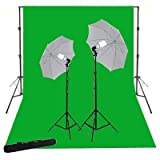 ePhoto K15+10x12G 10x12 Foot 800 watt Chromakey Green Screen Kit with Carrying Bag with 2 Light Stands with 32-Inch Umbrella and 105 Watt Bulbs and Support System