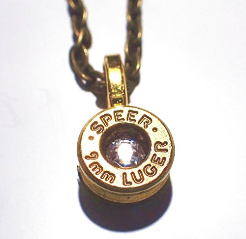 9Mm Bullet Head Necklace With Link Chain Clear Diamond Crystal