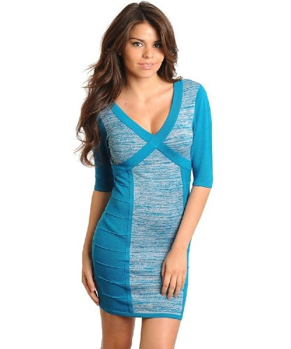 2Luv Women'S Contrast V-Neck Open Cross Back Sweater Dress Teal S(B811)