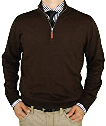 Luciano Natazzi Classic Fit Quarter Zip Mock Neck Sweater Cotton Cashmere Touch (XXXX-Large, Chocolate)