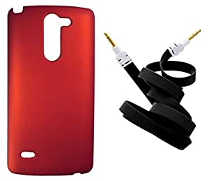 XUWAP Back Hard Case Cover With Aux Cable For LG G3 Stylus - Red