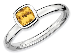 Stackable Expressions Sterling Silver Cushion Cut Citrine Stackable Ring Size 8