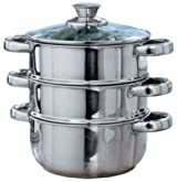 Cookworks 3 Tier Steamer 18 CM Diameter With Lid - Stainless Steel