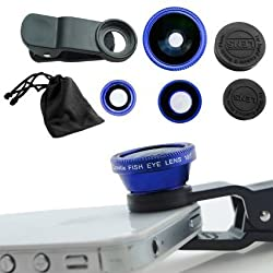 Universal Clip-On 3 in 1 Mobile Cell Phone Camera Lens Kit, 180 Degree Fisheye Lens + 0.67X Wide Angle + 10X Macro Lens, With 2 Lens Clip