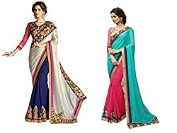Pragya creations Women's Chiffon Saree (Prag26_Multi)-pack of 2