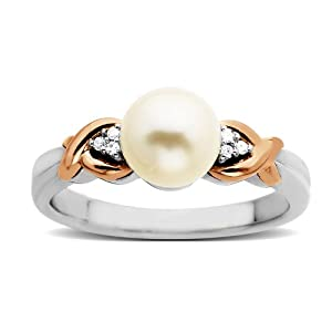 S&G Sterling Silver and 14k Pink Gold 7mm Freshwater Cultured Pearl and Diamond Ring (0.03 cttw, I-J Color, I3 Clarity), Size 8