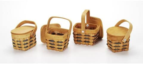 Bulk Buy Darice DIY Crafts Country Mini Basket With Wood Lid 25 x 35 inches 4 Assorted Styles 36-Pac