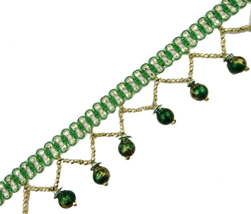 Green Braid Beaded Fringe Trim Border Lace Sewing Crafted Ribbon India 4 Yd