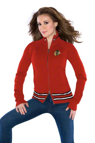 G-Iii Chicago Blackhawks Women's 'Touch' By Alyssa Milano Sweater Mix Jacket Small at Amazon.com