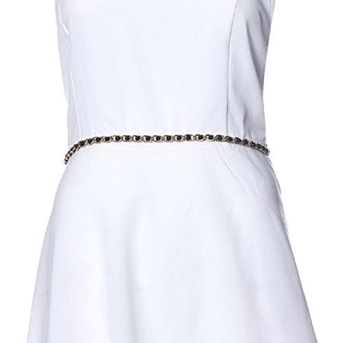 Ularmo Women Girl Pearl Chain Waist Belt Adjustable Size (black)