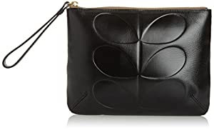 Orla Kiely Embossed Stem Leather Medium Zip Pouch,Black,One Size