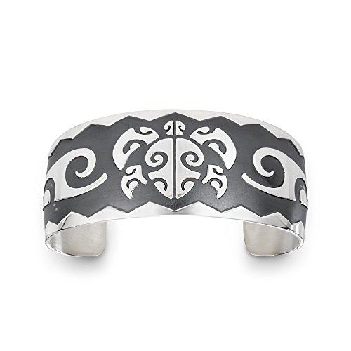 Sterling Silver Honu Turtle Wide Tahitian Bracelet. Made in USA.