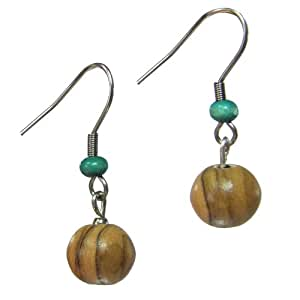 Small Round Olive Wood Earring with Teal - Fair Trade