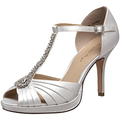 Brianna Leigh Women's Alyssa Platform Sandal,White,5.5 M US