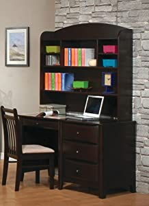 Computer Desk with Hutch Contemporary Style in Cappuccino Finish by Coaster Furniture