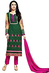 Lebaas Green and Magenta Heavy Embroidered Georgette Semi Stitched Suit (With Discount and Sale Offer)