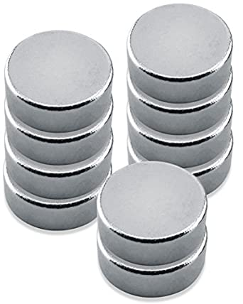 "Neodymium, Rare Earth Magnet Discs, Nickel Plate,0.315"" Diameter, 0.118"" Thick, 2.5 Pounds(Pack of 10)"