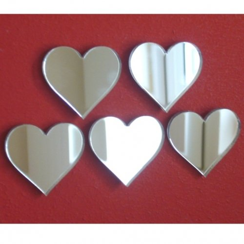 Heart Mirrors, Pack of 20, size 1inch each (3cm)