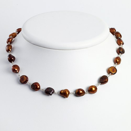 Sterling Silver Brown Cultured Pearl Necklace
