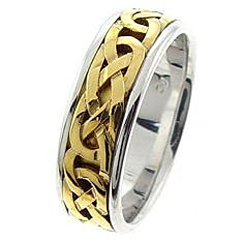14K Two-Tone Gold Trinity Knot Comfort-Fit Band Celtic Wedding Ring